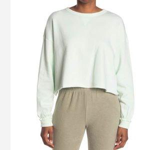 Bottoms Out Cropped Lounge Sweatshirt Mint XS M